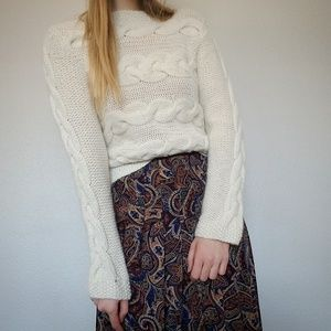 Cream Wool Cable Knit Sweater